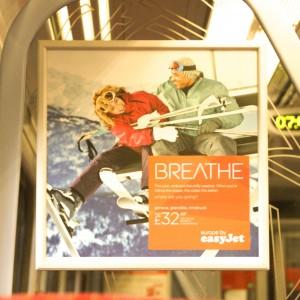Easyjet advertisement employing Greek-style type.