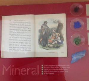 Minerals, seen here at the British Library's center for conservation exhibit, were utilized to create color. Now, conservationists must duplicate these natural colors when repairing old texts.