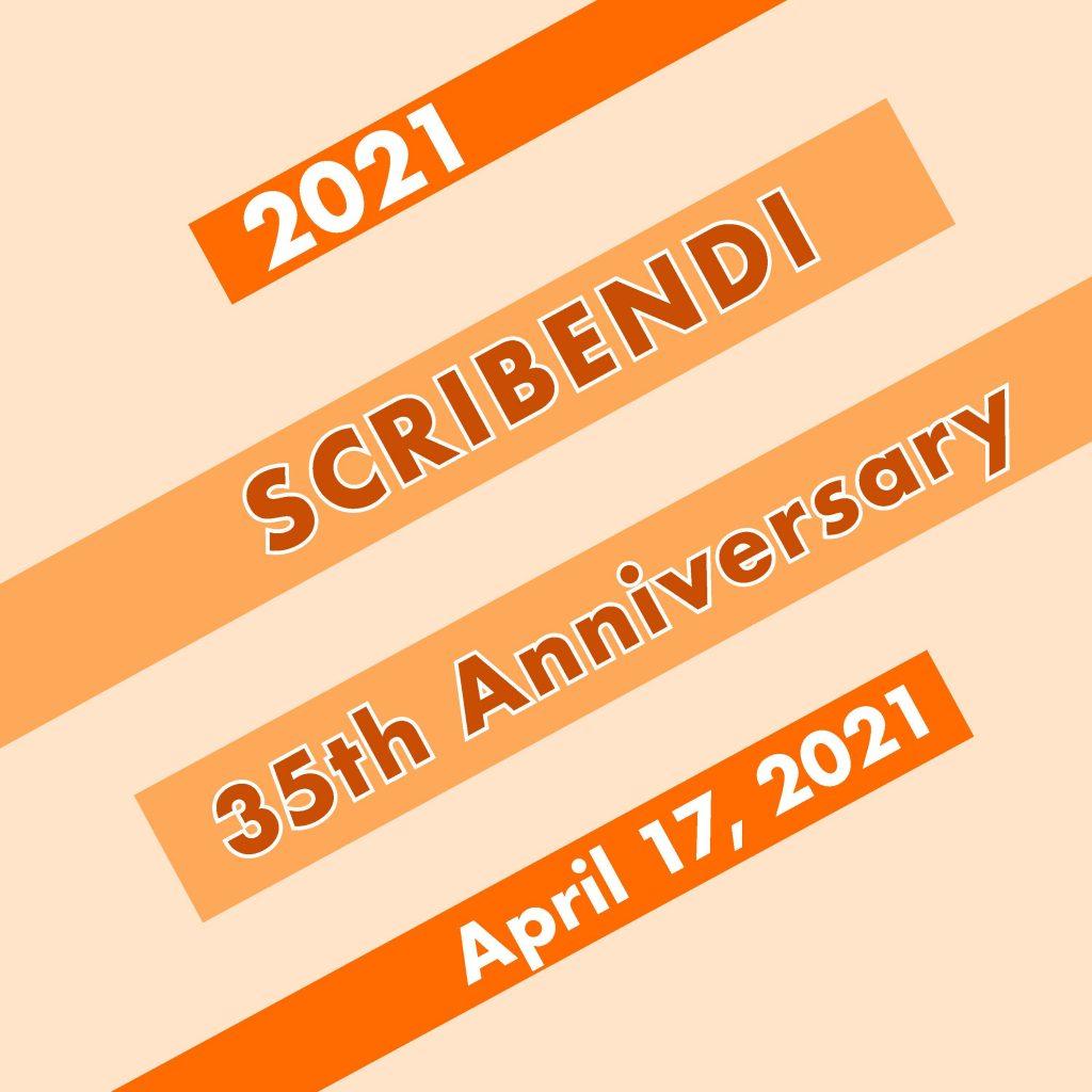 graphic displaying 2021 Scribendi 35th Anniversary April 17, 2021
